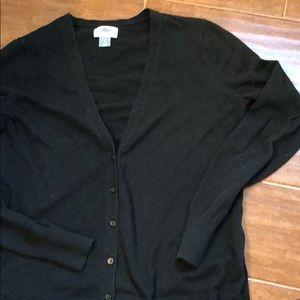 Black VNeck button down sweater